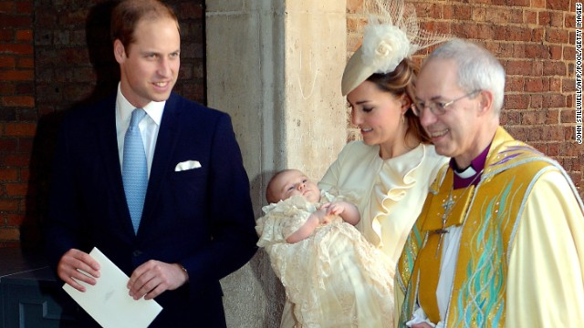 William and Catherine speak to Archbishop of Canterbury Justin Welby after Georges christening October 23 in London.