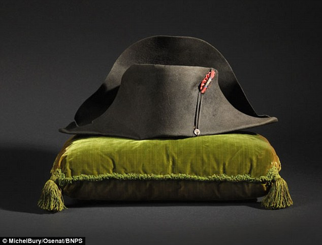 Record breaker: This black felt bicorne hat worn by French dictator Napoleon Bonaparte at the Battle of Marengo in 1800 was bought by a South Korean for a staggering £1.5million in Fontainebleau, near Paris