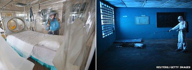Ebola treatment centres in London and Liberia