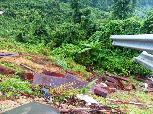 Toàn bộ số gỗ Trắc chở trên xe bị rơi xuống vực