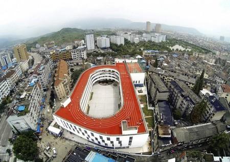 Sân chơi của trường nhìn từ trên cao