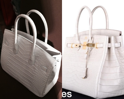 Chiếc túi của Lý Nhã Kỳ (trái) và túi Hermes nhìn bề ngoài giống nhau