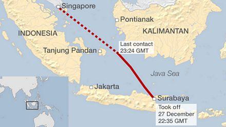 Máy bay QZ8501 mất tích khi đang trên đường từ Indonesia tới Singapore.