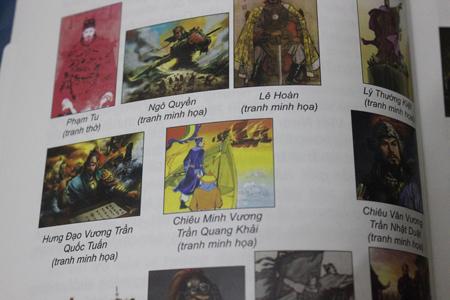 Nhiều ảnh minh họa trong cuốn sách những vị tướng của NXB Văn hóa Thông tin dùng ảnh nhân vật giống như phim kiếm hiệp.