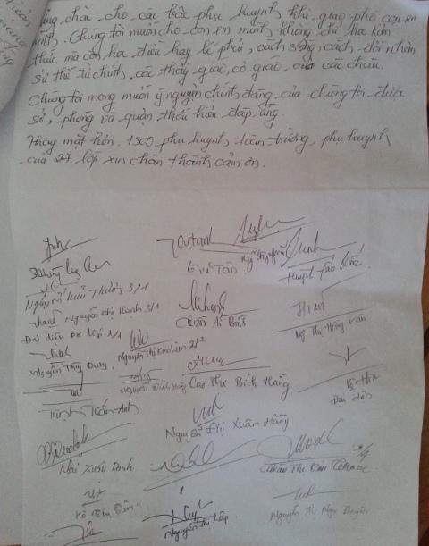 Đơn kiến nghị của phụ huynh học sinh trường tiểu học Điện Biên Phủ. Ảnh Đức Hoàng