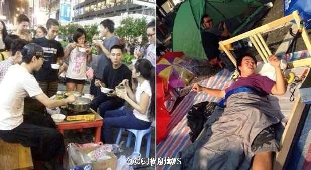 Trong khi đó,để chuẩn bị cho kế hoạch biểu tình lâu dài, những người biểu tình ở Đặc khu Hành chính Hong Kong của Trung Quốc đã quyết định sử dụng những vật dụng gia đình ngay giữa đường.
