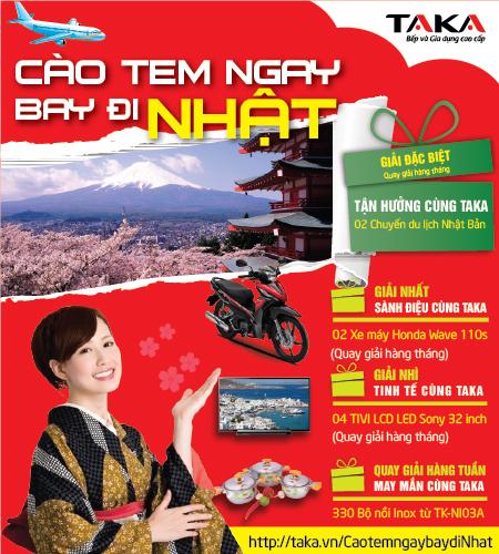 """Chương trình """"Cào tem ngay- Bay đi Nhật"""" diễn ra từ ngày1/12/2014 đến hết ngày 18/2/2015"""