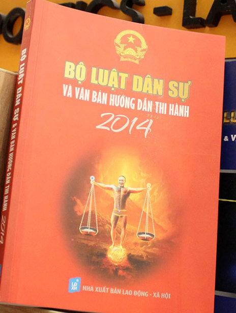 Bìa sách Bộ luật dân sự và văn bản hướng dẫn thi hành 2014 có gương mặt của diễn viên hài Công Lý