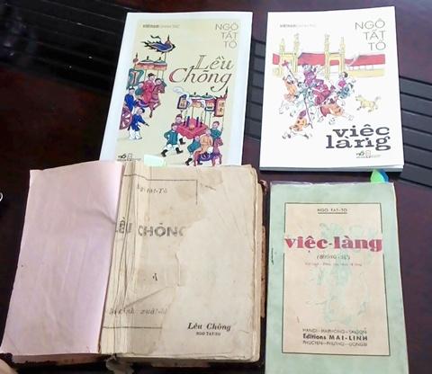 Sách cũ Lều chõng (1941), Việc làng (1940) cùng các bản in tương ứng của Nhã Nam năm 2014