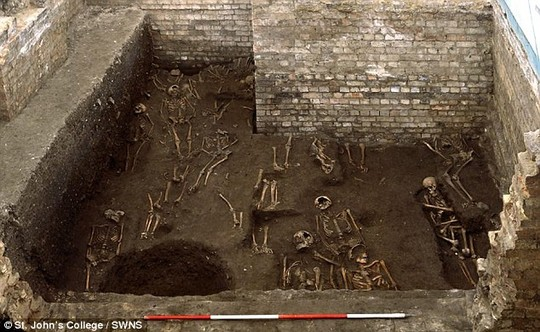 Incredible find: Archaeologists digging under a building owned by St John's College, University of Cambridge has unearthed the cemetery of a medieval hospital and the remains of 1,300 people