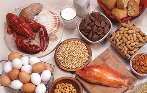 Thức ăn động vật có đạm cao như: tôm, cua, bò, gà, vịt xiêm, baba, ngỗng, cá biển như: cá ngừ, cá thu, trứng… có thể tác nhân gây dị ứng