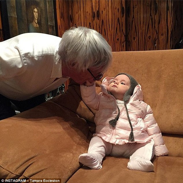 Doting grandfather: Formula One boss Bernie Ecclestone has already bought seven-month old granddaughter Sophia a pair of Hermes cashmere bootees to complement her extensive baby Dior collection