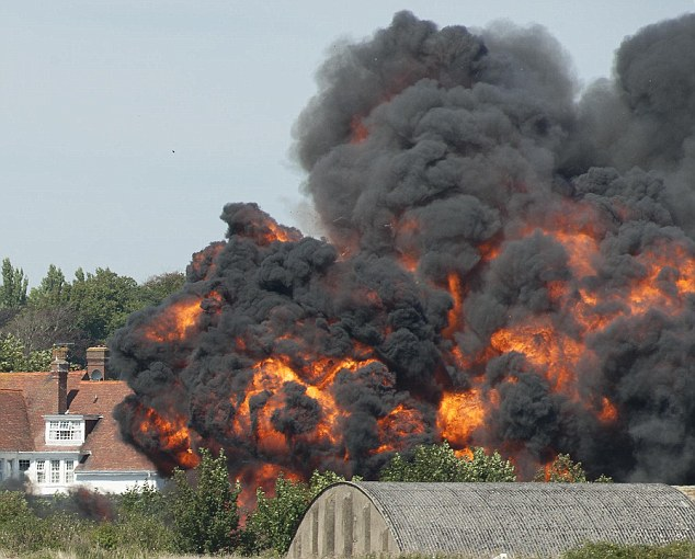 Extraordinary: The plane crashed in a fiery explosion on the nearby A27 killing 11 eight days ago