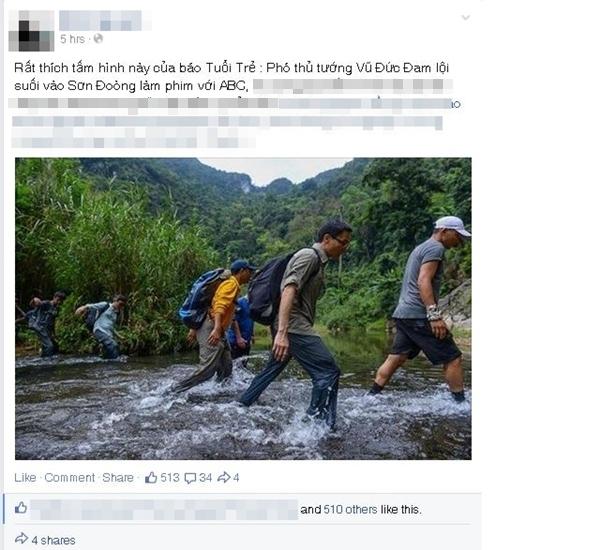 Bức ảnh Phó thủ tướng Vũ Đức Đam lội suối đến hang Sơn Đoòng gây sốt mạng_1
