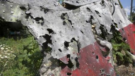 Một mảnh vỡ của MH17 với nhiều vết tích được cho là của tên lửa (Ảnh: