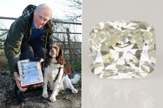 Ông Allan Bell cùng chú chó Rosie đã tìm thấy viên kim cương mất tích. Ảnh: Mirror