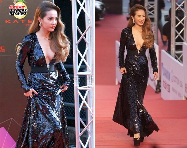 Thái Y Lâm xuất hiện với bộ váy màu đen khoét cổ chữ V gợi cảm. Vóc dáng đầy đặn giúp Diva Đài Loan trở thành tiêu điểm truyền thông.