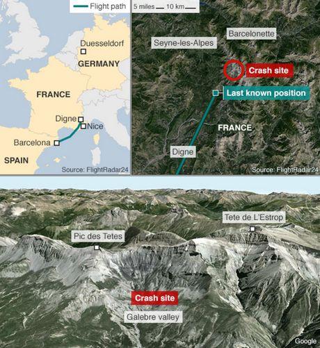 Máy bay chở 150 người vỡ vụn trên núi, không ai sống sót