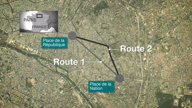 2 tuyến đường tuần hành tại Paris. (Đồ họa: BBC)