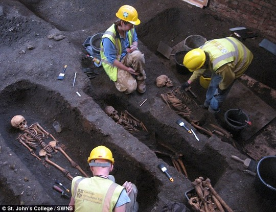 Medieval mysteries: Archaeologists digging under a building owned by St Johns College, University of Cambridge has unearthed the cemetery of a medieval hospital and the remains of 1,300 people