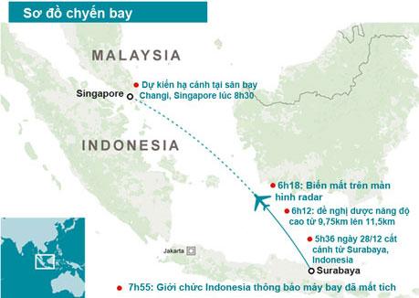 Hình minh họa các mốc thời gian và thông tin chính của chuyến bay QZ8501 (Đồ họa: Ngọc Diệp)
