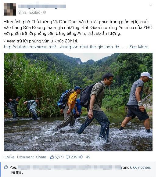 Bức ảnh Phó thủ tướng Vũ Đức Đam lội suối đến hang Sơn Đoòng gây sốt mạng_2