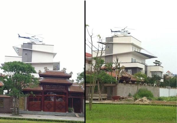 Cận cảnh chiếc trực thăng mô hình đỗ trên nóc căn biệt thự.