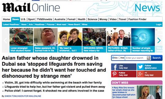 Bản tin đăng trên tờ Daily Mail (Anh). Ảnh: The Guardian