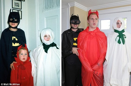 Halloween: They trawled local stores to find replica costumes to recreate the childhood scenes