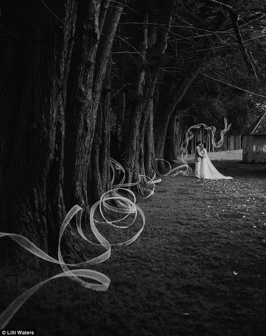 The artist says he was inspired by the wedding ribbon concept as the artwork led wedding guests to the seating area