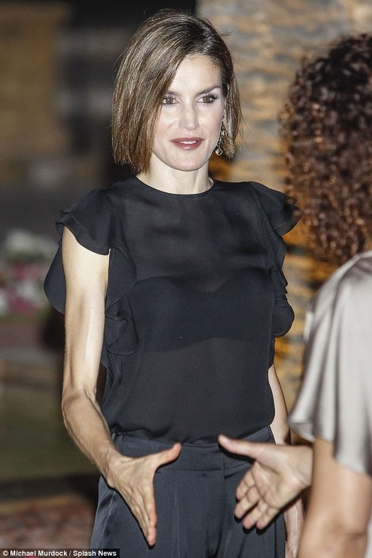 Slender: Queen Letizia of Spain showed off a pair of sinewy arms during a gala dinner in Palma last night