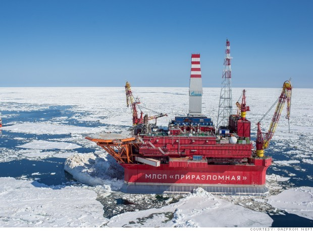 Một dàn khoan dầu của Nga tại vùng biển Bắc Cực