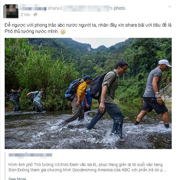 Bức ảnh Phó thủ tướng Vũ Đức Đam lội suối đến hang Sơn Đoòng gây sốt mạng_3
