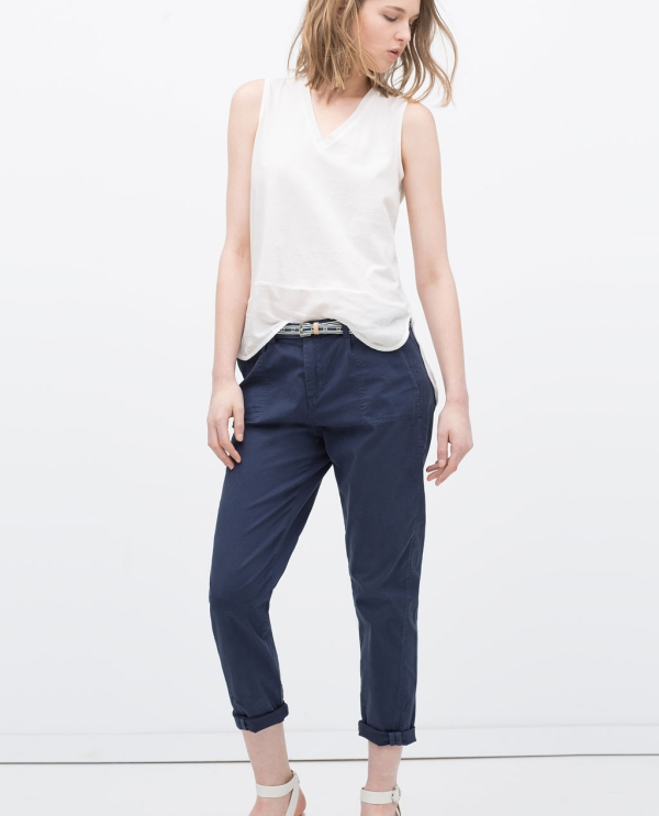 Image 2 of TOPSTITCHED CHINOS from Zara