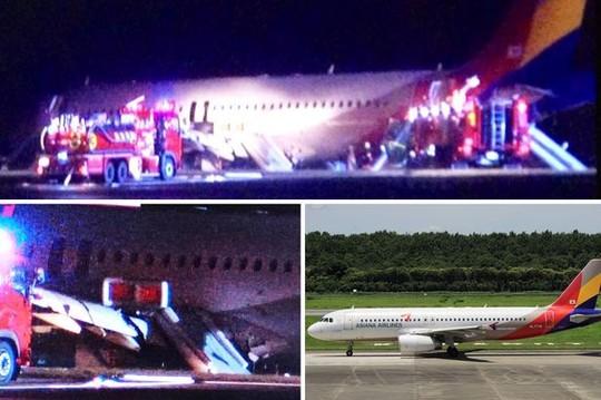 Chiếc Airbus A320 số hiệu OZ162 của hãng hàng không Asiana trượt khỏi đường băng tối 14-4. Ảnh: Mirror