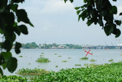 Vị trí Cồn Gáo ngày xưa được xác định nằm ở giữa khúc sông đoạn trước đình Tân Lân và cầu Hóa An. Cách cây cầu Hóa An hiện hữu khoảng 200m (đánh dấu X đỏ)