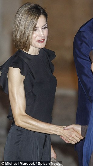 Not the first time: Letizia, who is grieving following her grandfathers death, has become increasingly slim
