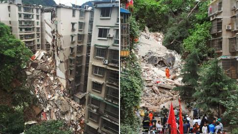 Lở đất khiến căn nhà sụp đổ. Ảnh: SCMP