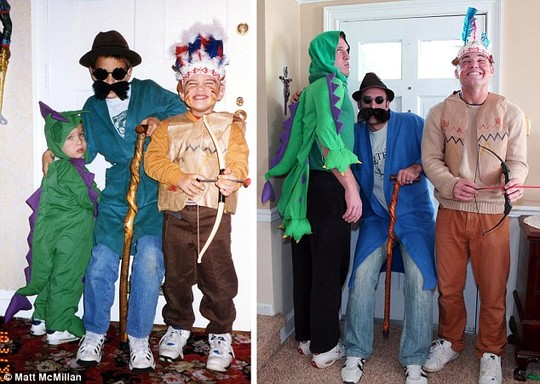 Party time: Although a properly-sized dinosaur costume was seemingly not available, the boys managed to mostly recreate their costumes here