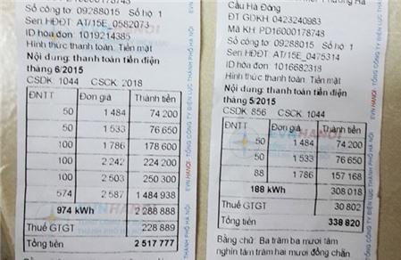 Tháng 5, lượng điện tiêu thụ của gia đình chị Phương Dung (Hà Đông, Hà Nội) là 188 kWh, nhưng sang tháng 6 vọt lên đến 974 kWh. Với cách tính giá điện mới khiến số tiền phải trả tăng gấp 8 lần.