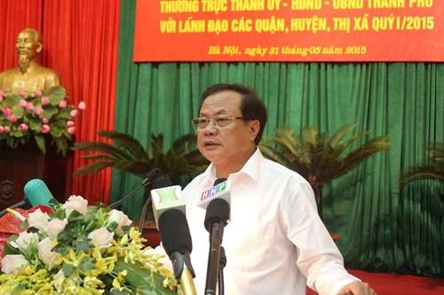 Bí thư Thành ủy Phạm Quang Nghị tại Hội nghị giao ban lãnh đạo TP Hà Nội với các sở, ngành, quận, huyện sáng ngày 31/3. Ảnh: TL