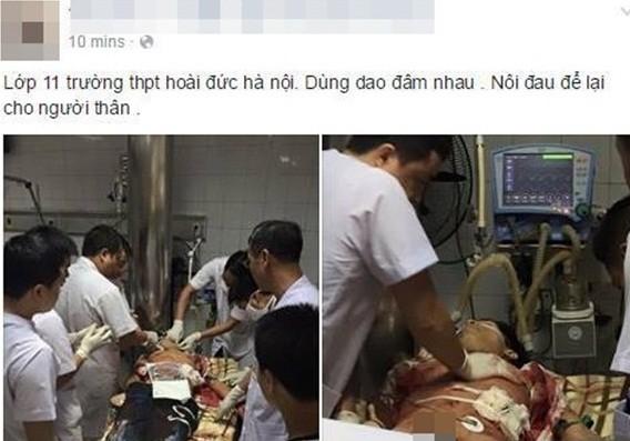 Các bác sỹ đang cấp cứu cho nạn nhân (ảnh được từ facebook của người dân)
