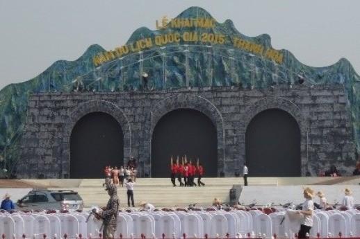 Sân khấu tại Quảng trường Lam Sơn, nơi diễn ra lễ khai mạc mọi công việc chuẩn bị đã hoàn tất