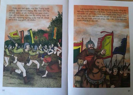 Ảnh minh họa quân Mã Viện cởi truồng trong truyện tranh lịch sử của NXB Giáo dục Việt Nam. Ảnh: TL