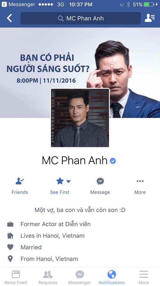 Facebook bị khóa của Phan Anh