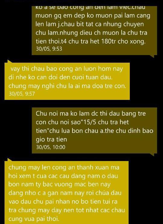 Tin nhắn giữa ông Hạnh trả lời anh Lộc về việc đòi tiền.