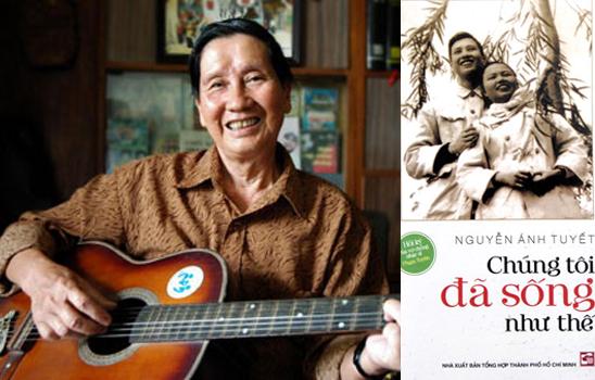 Nhạc sĩ Phạm Tuyên và bìa cuốn hồi ký của người vợ quá cố (ảnh nhân vật cung cấp).