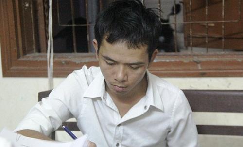 Đối tượng Nguyễn Văn Sỹ tại cơ quan công an. Ảnh: C.A