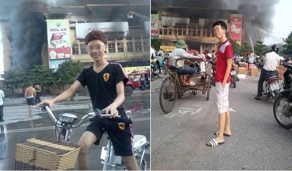 Bức ảnh hai thanh niên chụp trong lúc trung tâm thương mại đang cháy lớn