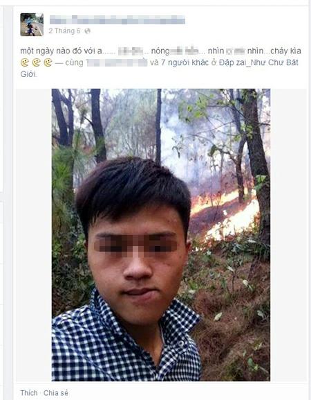 Chàng trai tự sướng trước đám cháy rừng.